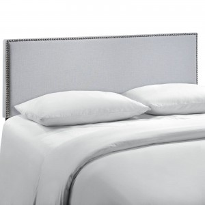 Region Queen Nailhead Upholstered Headboard, Gray by Modway Furniture