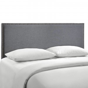 Region Queen Nailhead Upholstered Headboard, Smoke by Modway Furniture