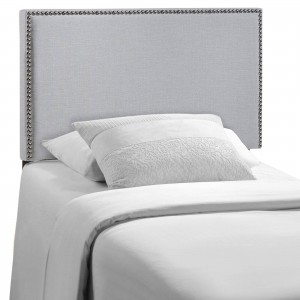 Region Twin Nailhead Upholstered Headboard, Gray by Modway Furniture