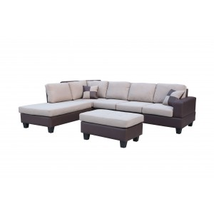 Sentra Sectional Sofa w/Ottoman, Left Arm Chaise by New Spec Furniture