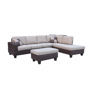 Sentra Sectional Sofa w/Ottoman, Right Arm Chaise by New Spec Furniture