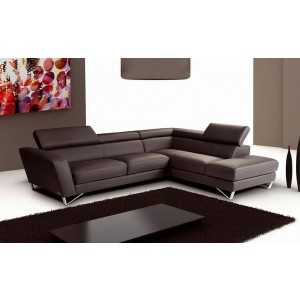 Sparta Italian Leather Sectional, Rignt Arm Chaise, Expresso Chocolate by J&M Furniture