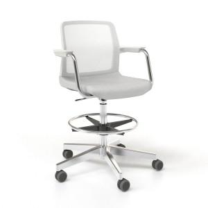 Wind Low Back High Swivel Chair with Mesh Backrest, Castors & Chromed Frame