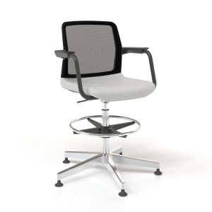 Wind Low Back High Swivel Chair with Mesh Backrest, Glides & Powder-coated Frame