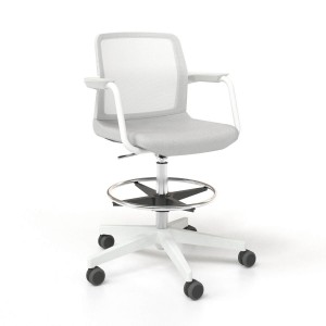 Wind Low Back High Swivel Chair with Mesh Backrest, Castors & Powder-coated Frame