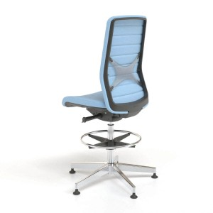 Wind High Swivel Chair with Fabric Backrest & Glides