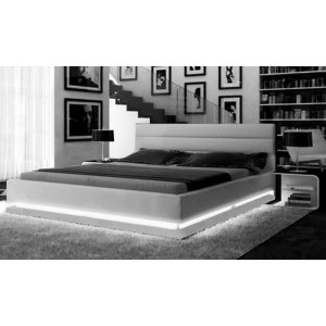 Alga Modern Ecoleather Bed with Lighting