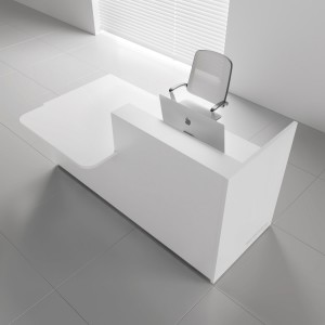 TERA Left Countertop Medium Reception Desk, White Pastel