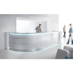 VALDE Curved Reception Desk, High Gloss White by MDD Office Furniture