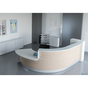 VALDE J Shaped Reception Desk w/Counter Top