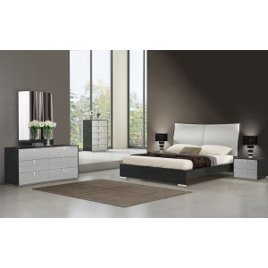 Vera Modern Ecoleather Panel Bedroom Set