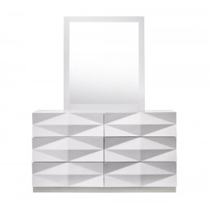 Verona Modern Lacquer 3D Dresser with Mirror