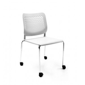 Wait Conference Armless Chair, Plastic Seat & Back, 4-leg Base with Castos