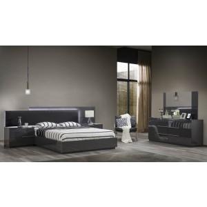 Warsaw MDF/Wood Glossy Platform Bedroom Set w/LED Light