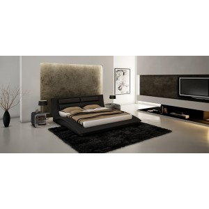 Wave Modern Leatherette Platform Bed
