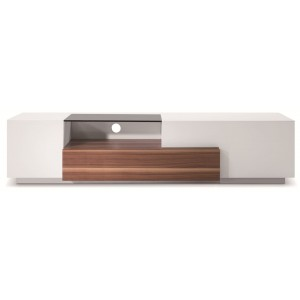 TV015 TV Stand, Walnut + White High Gloss by J&M Furniture