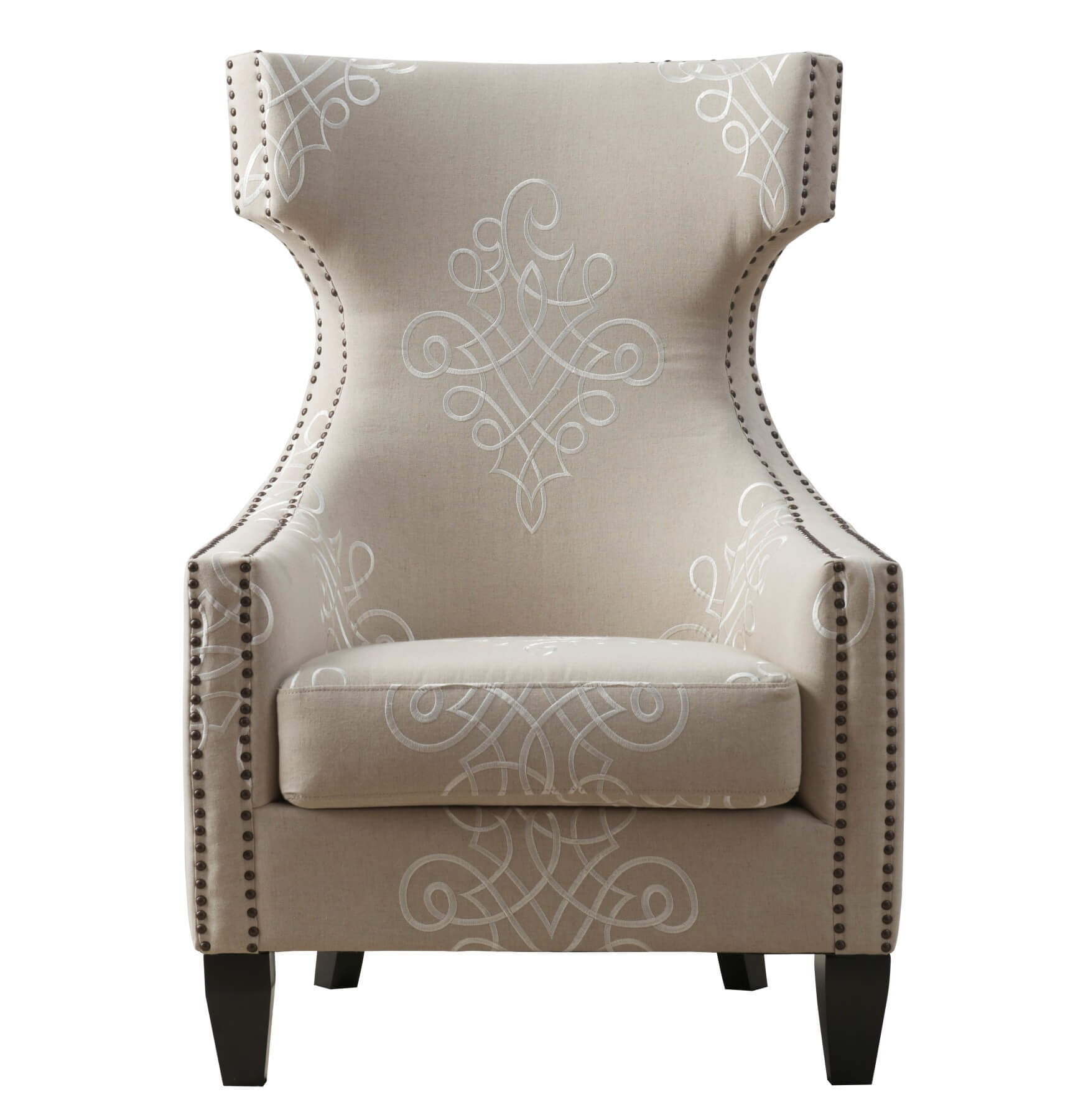 Gramercy Embroidered Linen Wing Chair By TOV Furniture Buy Online At Best  Price   SohoMod