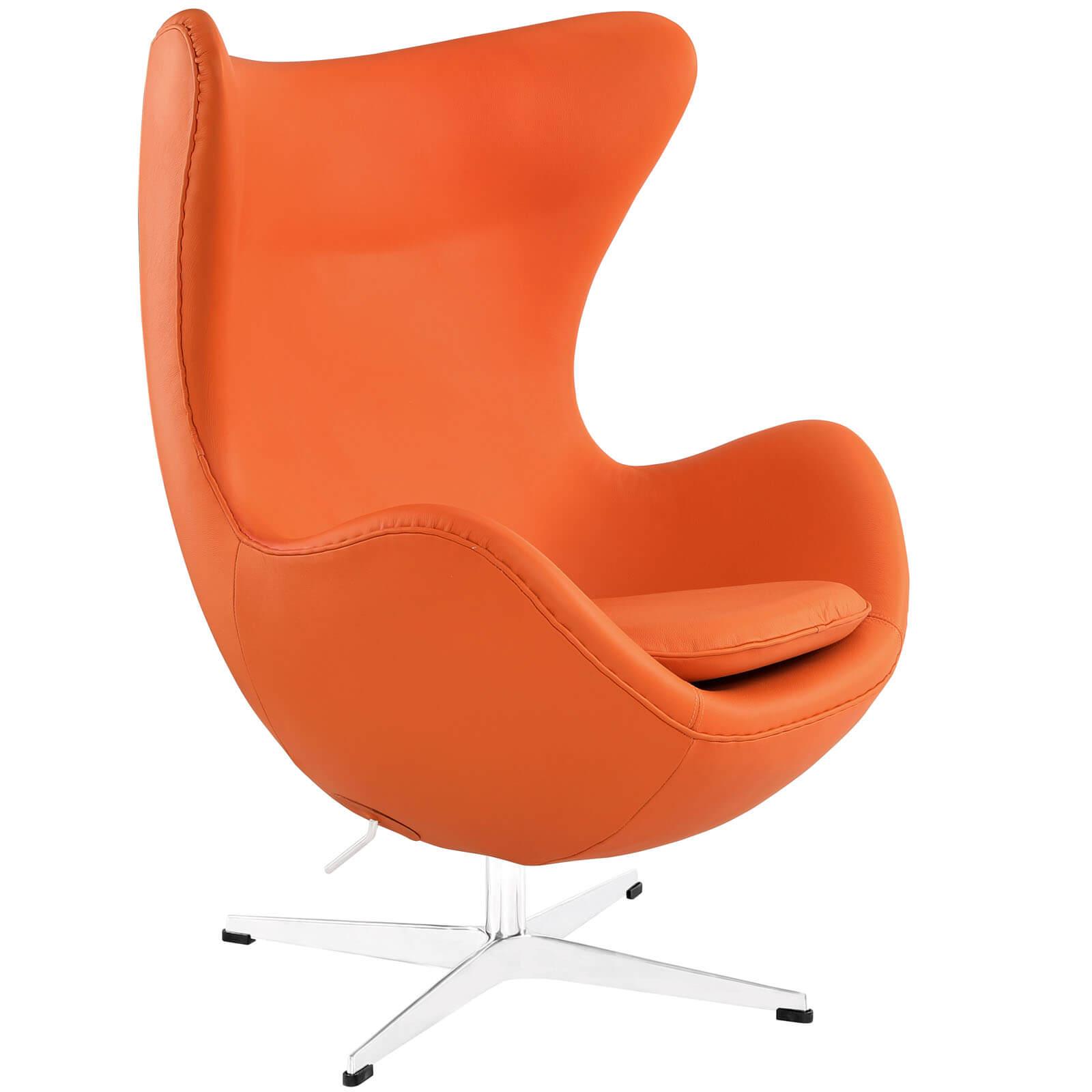 Glove Leather Lounge Chair, Orange Buy Online At Best Price   SohoMod