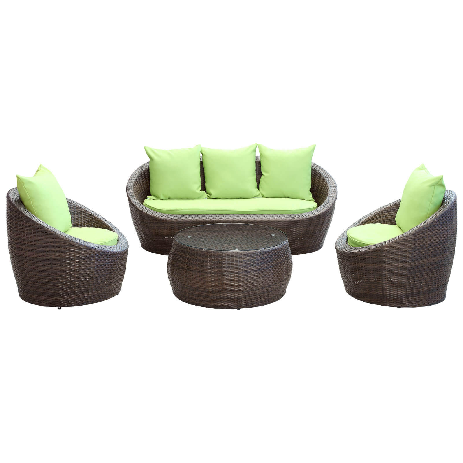 Avo 4 Piece Outdoor Patio Sofa Set Brown Green Buy line at