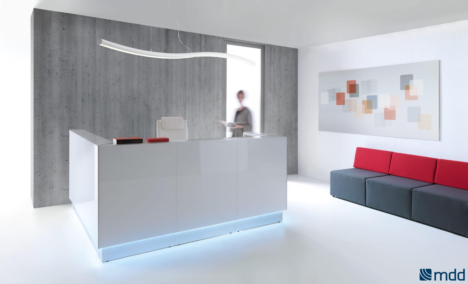 Linea U Shape Reception Desk W Tambour High Gloss White Online At Best Price Sod