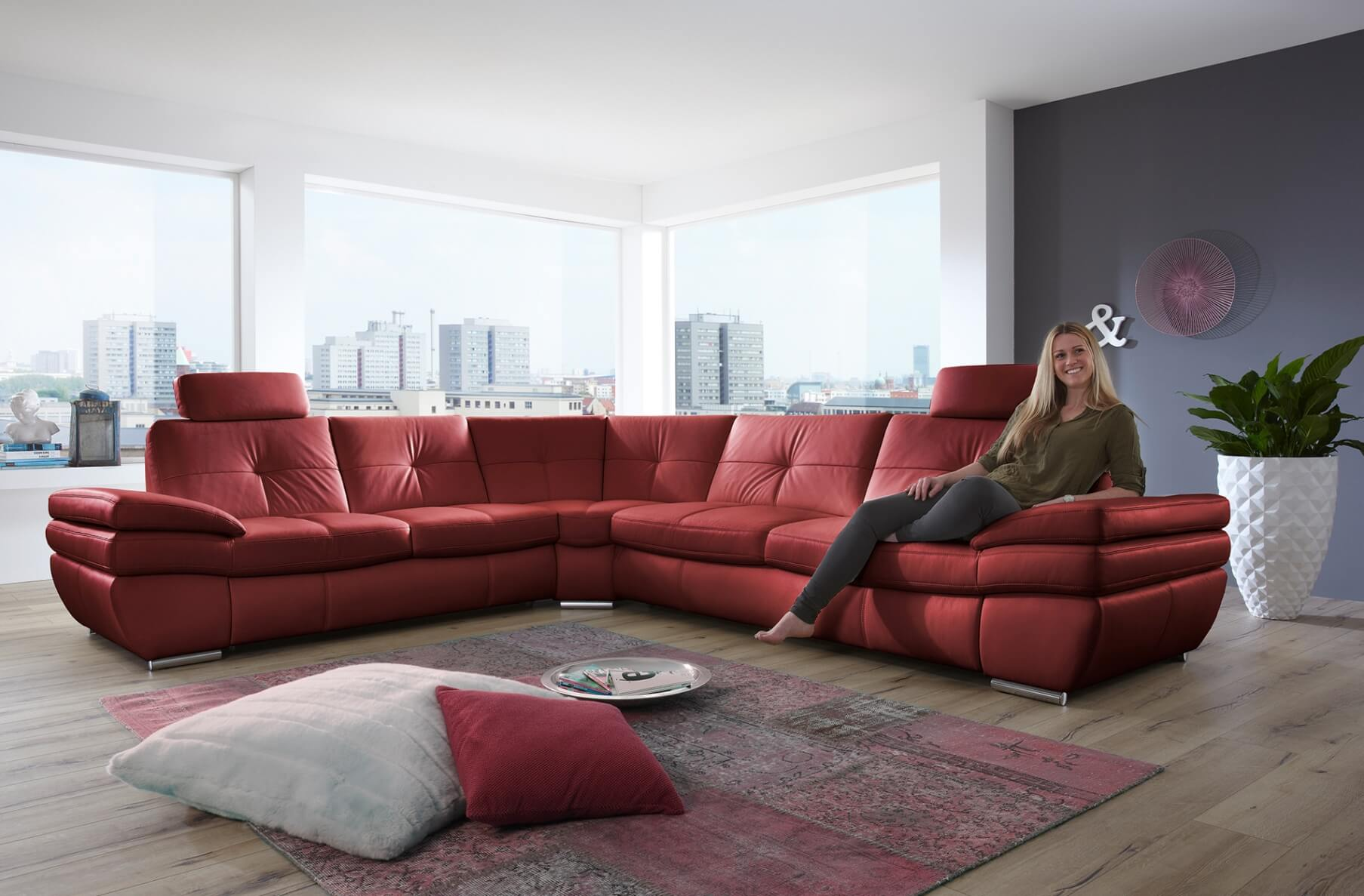 Salzburg Sectional Sleeper Sofa Red Leather Buy line at Best