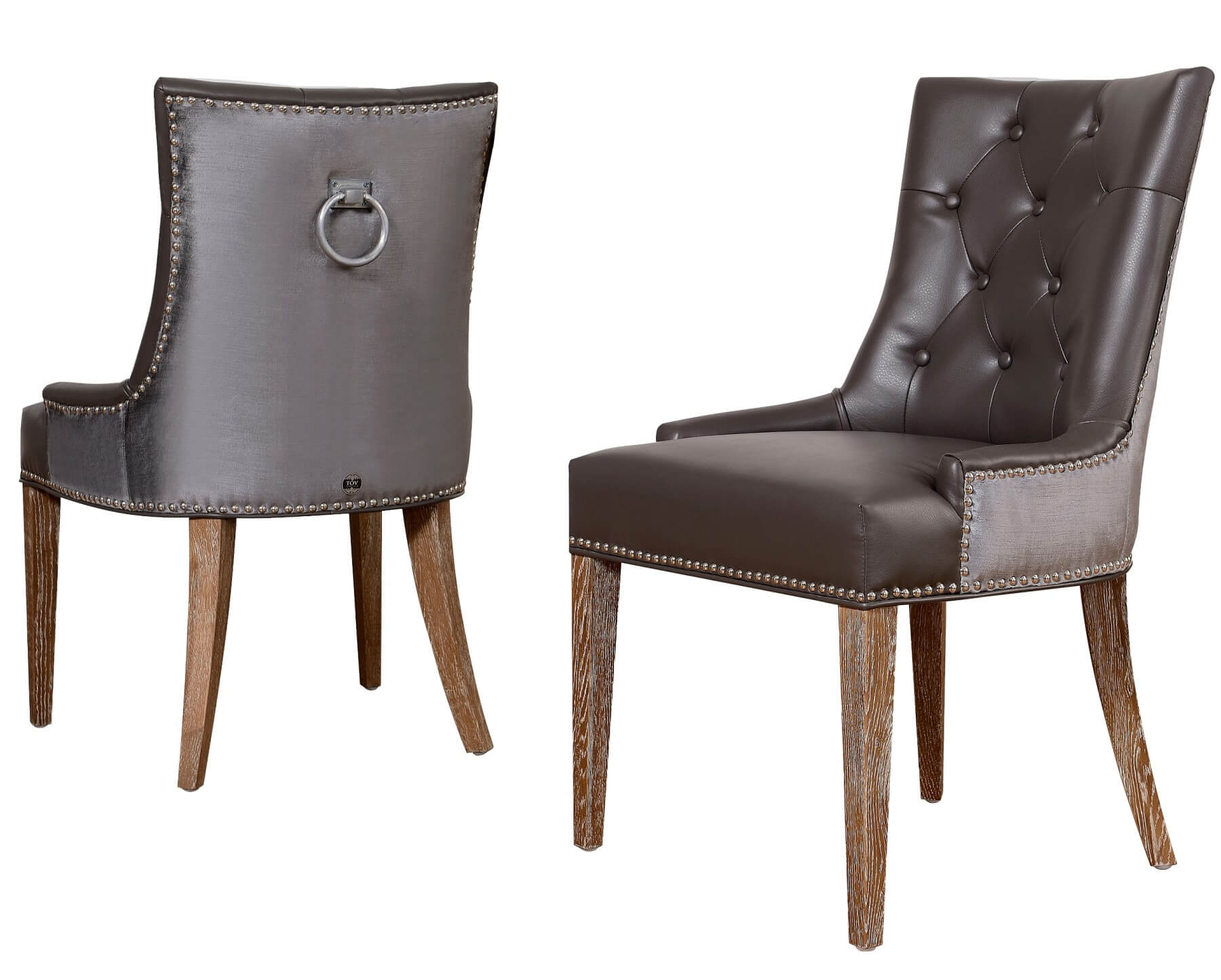 Uptown Leather Velvet Dining Chair Set of 2 by TOV Furniture Buy