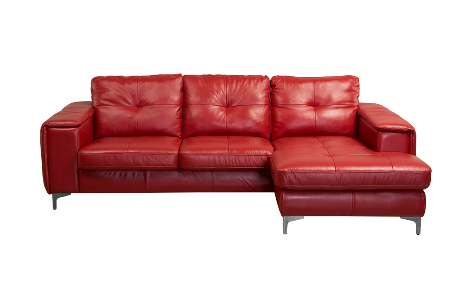 Frankfurt Sectional Left Arm Chaise Facing Red Leather