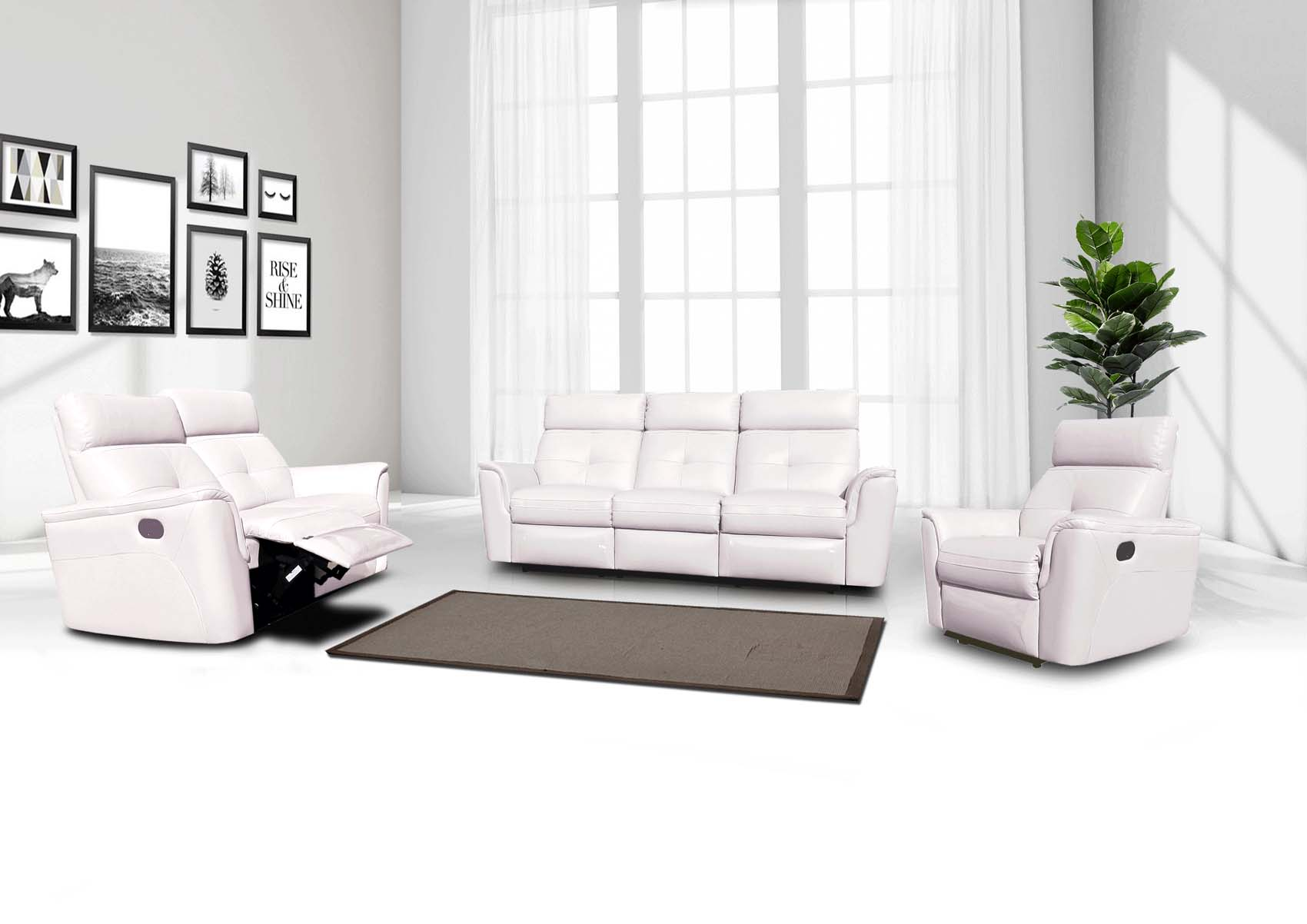 8501 Leather/Eco-Leather Living Room Set w/Recliner