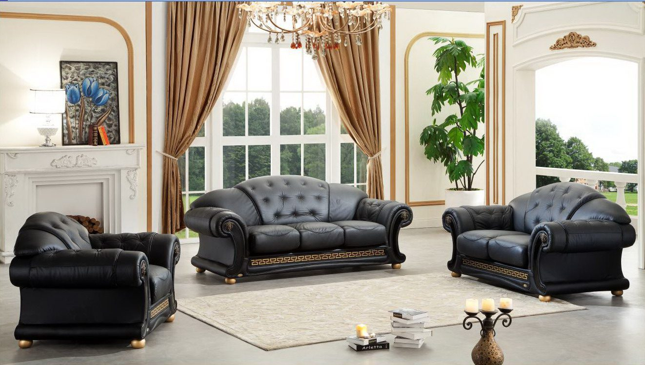 & Versace Living Room Set Black Buy Online at Best Price - SohoMod
