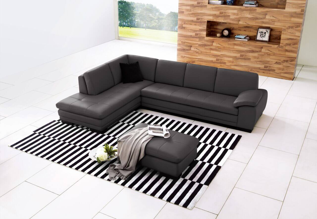 625 Italian Leather Sectional, Left Arm Chaise Facing, Black Buy ...
