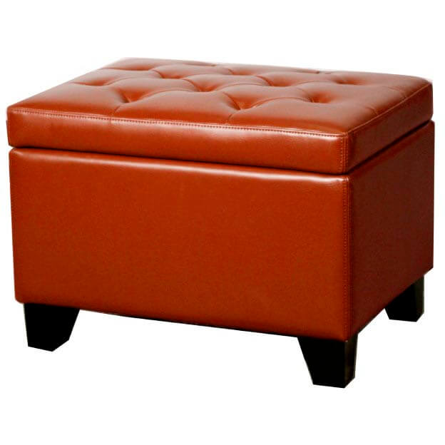 Julian Rectangular Bonded Leather Storage Ottoman Turquoise Buy