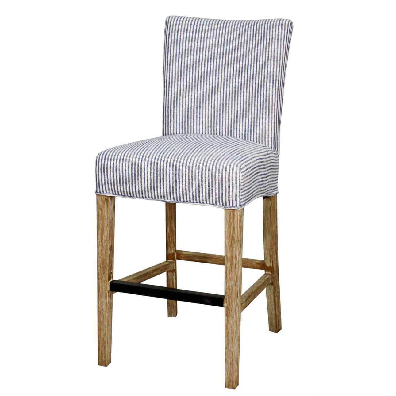 Milton Fabric Bar Stool Natural Wood Legs Blue Stripes