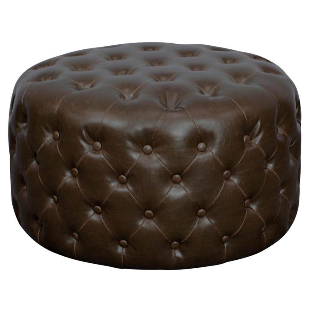 Lulu Round Bonded Leather Tufted Ottoman Vintage Dark