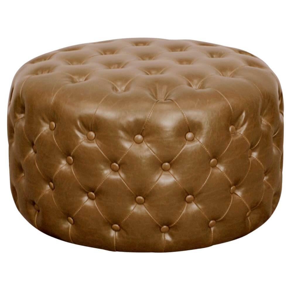 Lulu Round Bonded Leather Tufted Ottoman, Vintage Blue