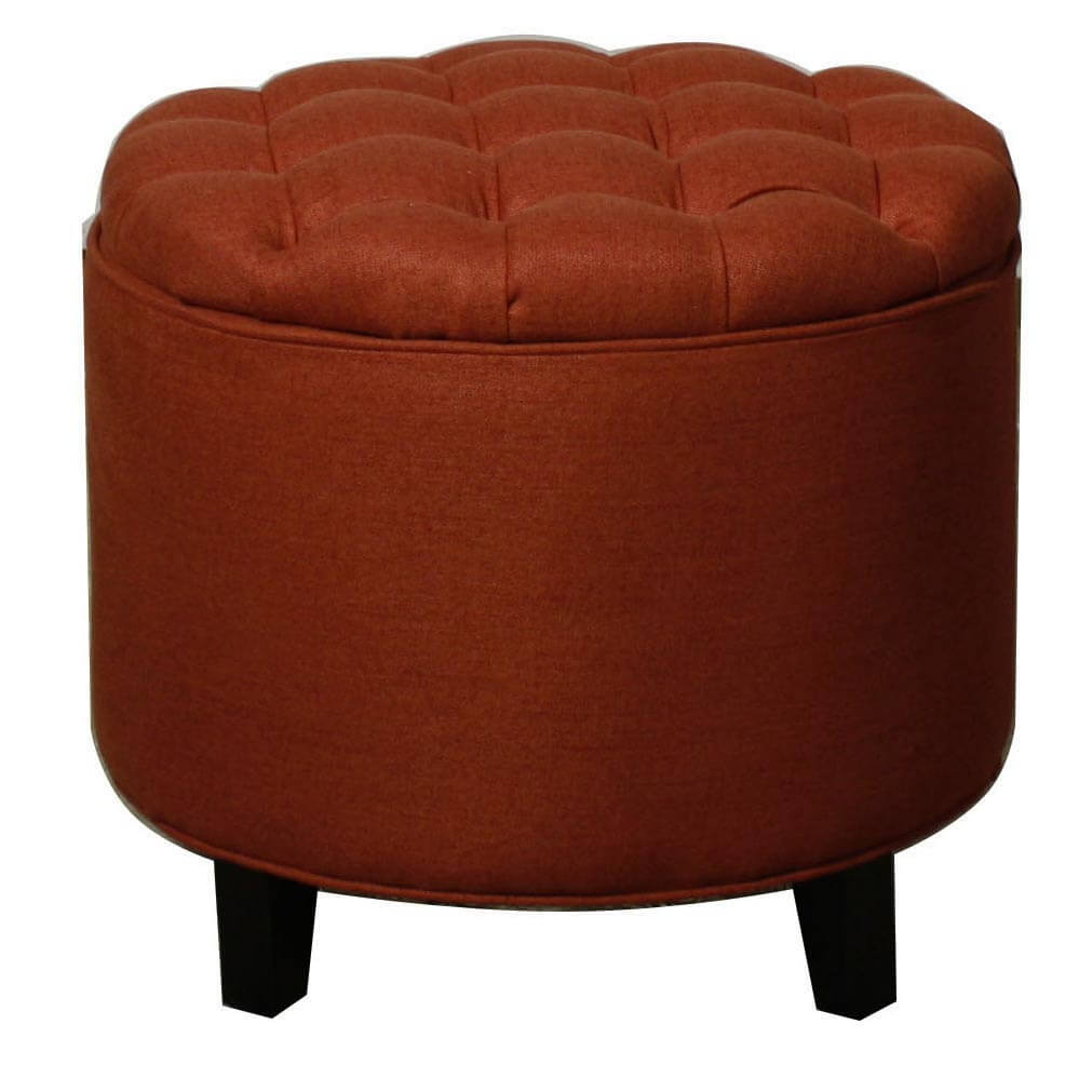 Avery Tufted Round Storage Ottoman Persimmon By Npd New