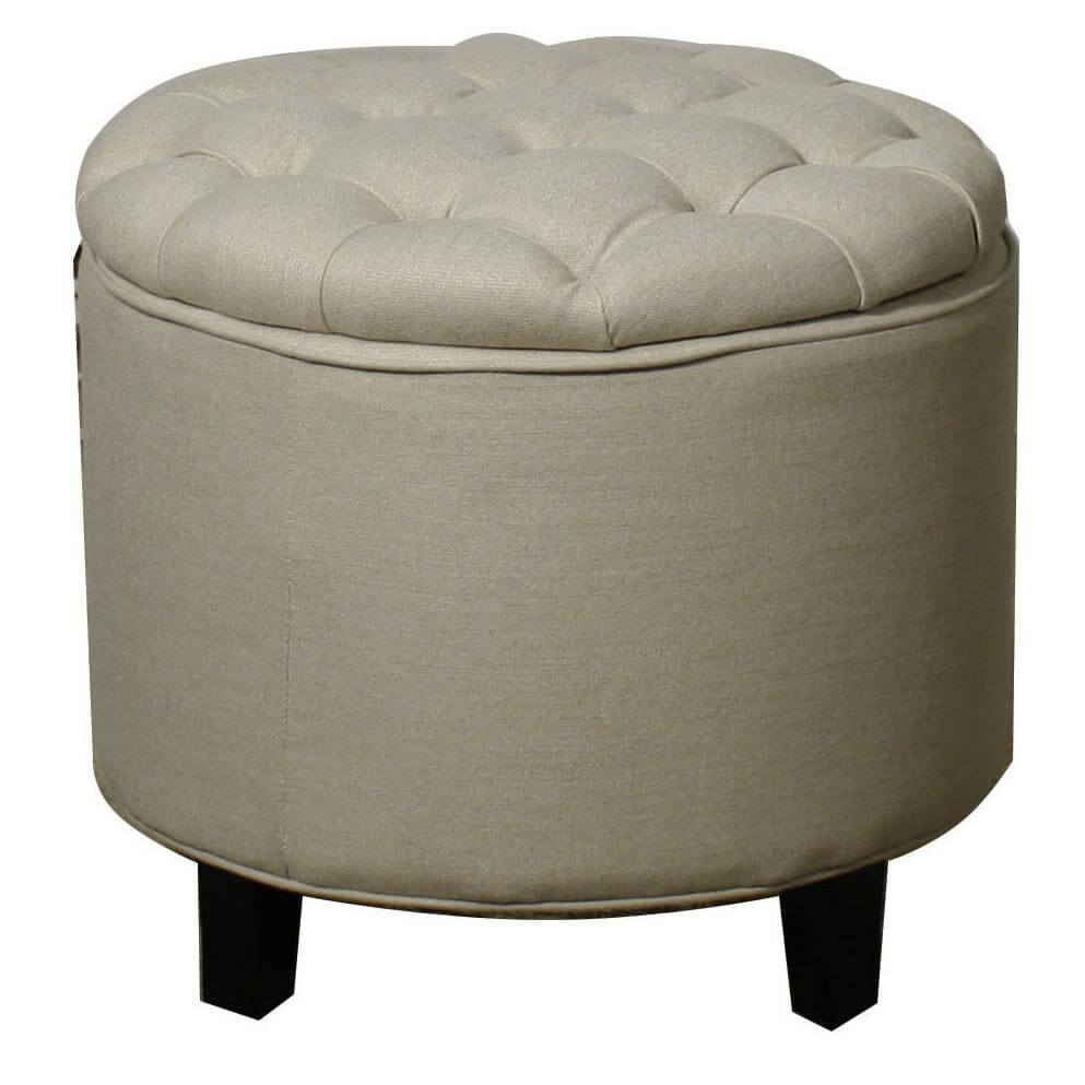 Avery Tufted Round Storage Ottoman Sand By Npd New