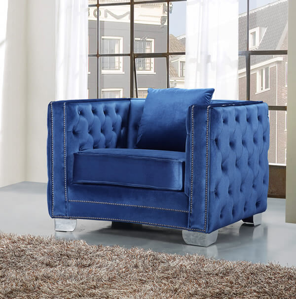 light blue - Blue Velvet Chair