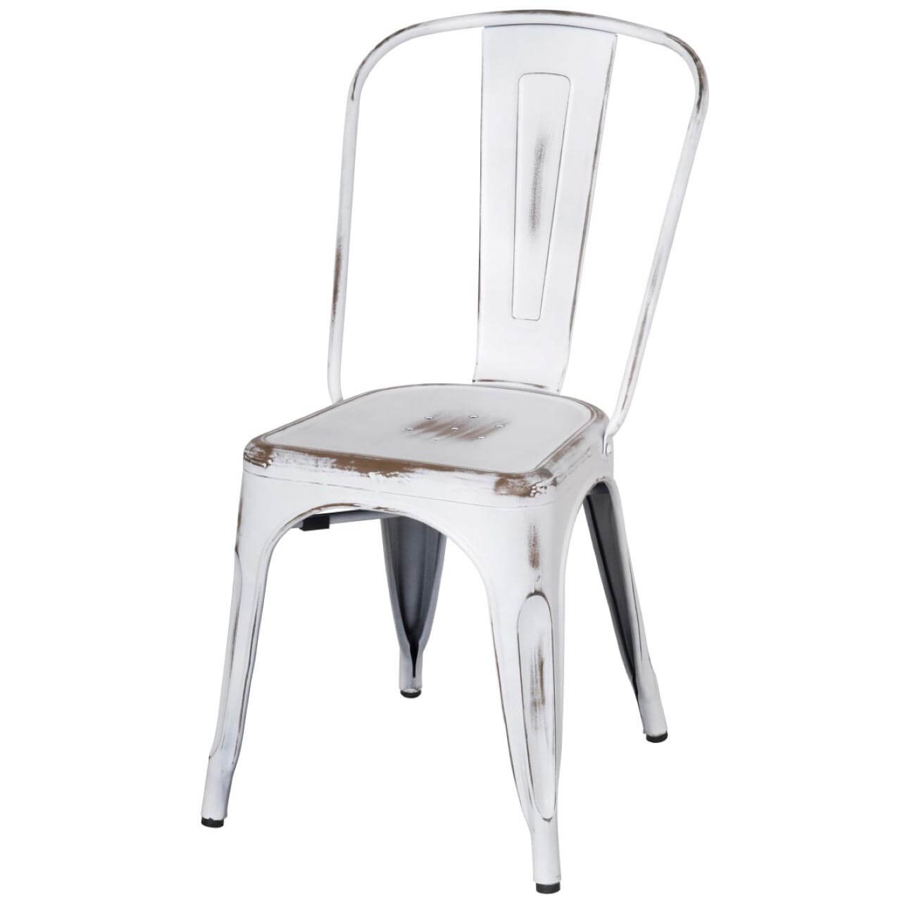 Merveilleux Metropolis Metal Side Chair, Distressed White, Set Of 4 By NPD (New Pacific  Direct) | Sohomod.com