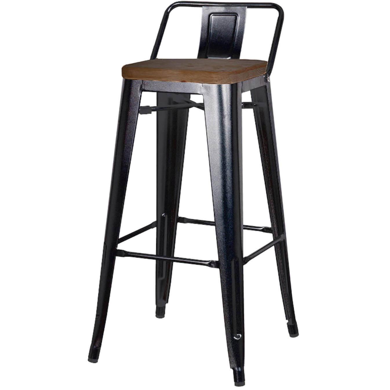black. metropolis low back counter stool wood seat gunmetal set of