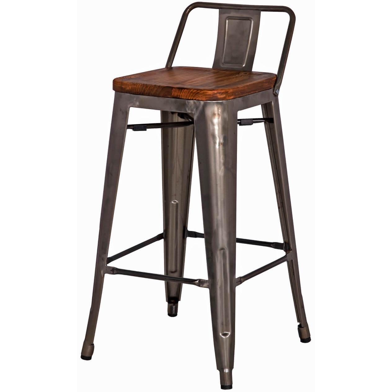 Metropolis Low Back Counter Stool Wood Seat Gunmetal
