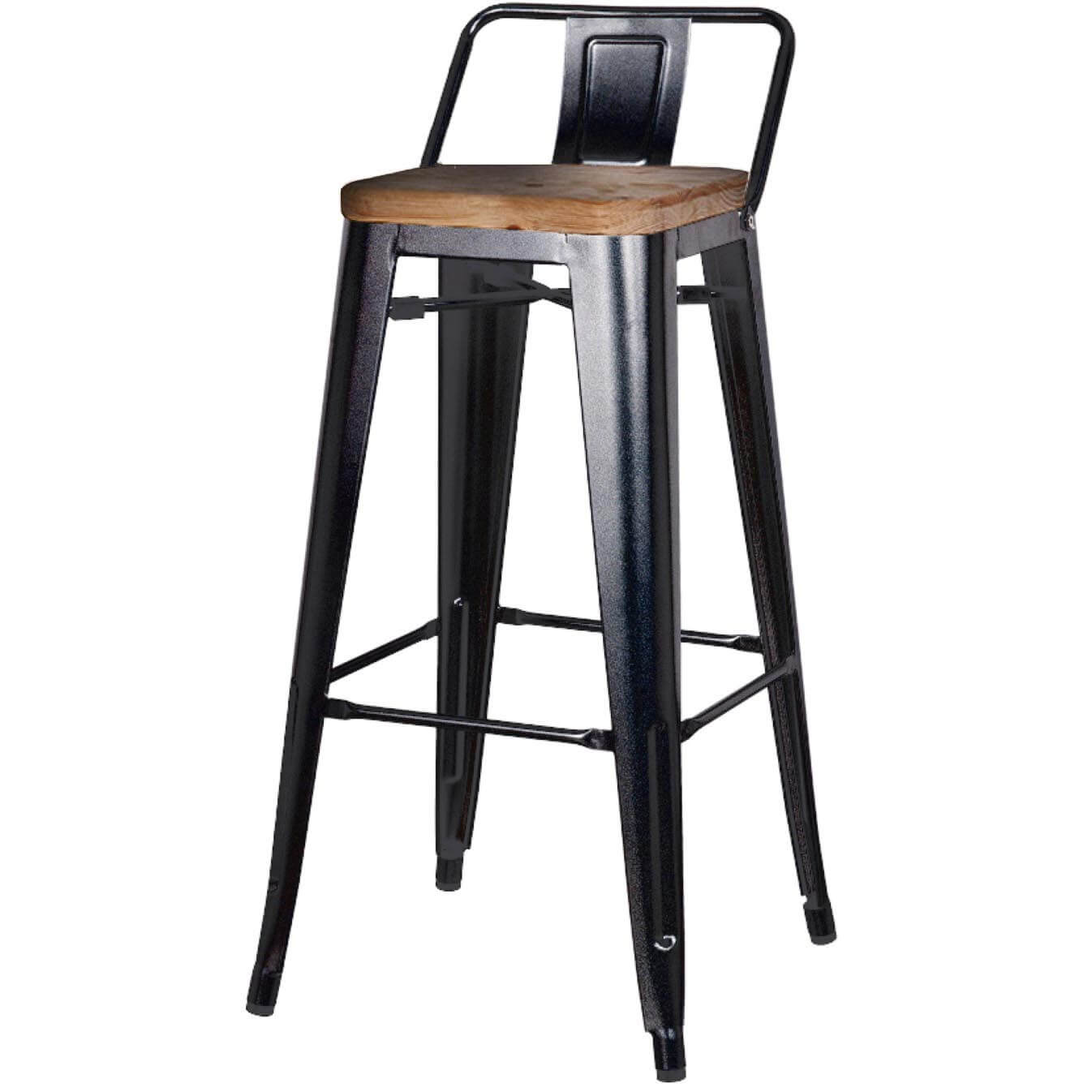 Metropolis Low Back Bar Stool Wood Seat Orange Set Of 4