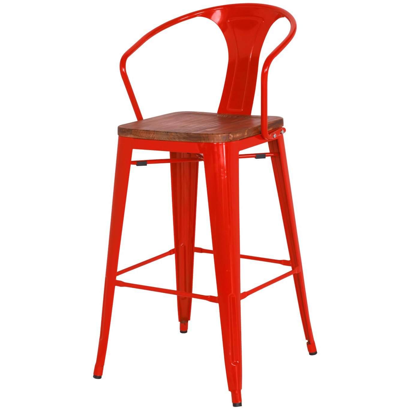Metropolis Metal Counter Stool, Wood Seat, Black, Set Of 4