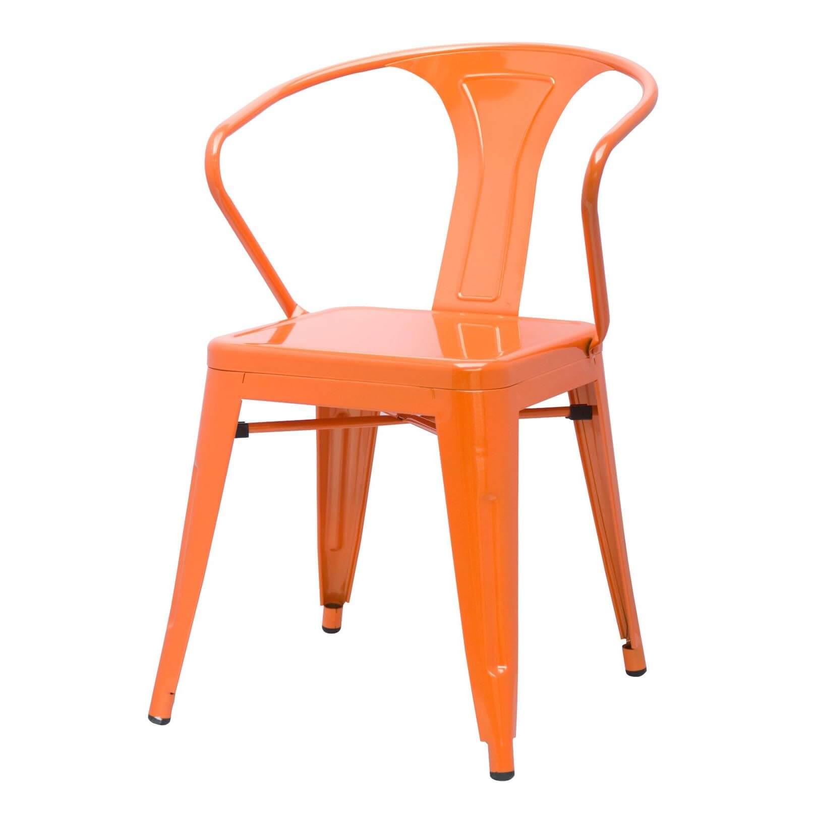 Metropolis Metal Arm Chair Distressed Yellow Paint Drops Set of