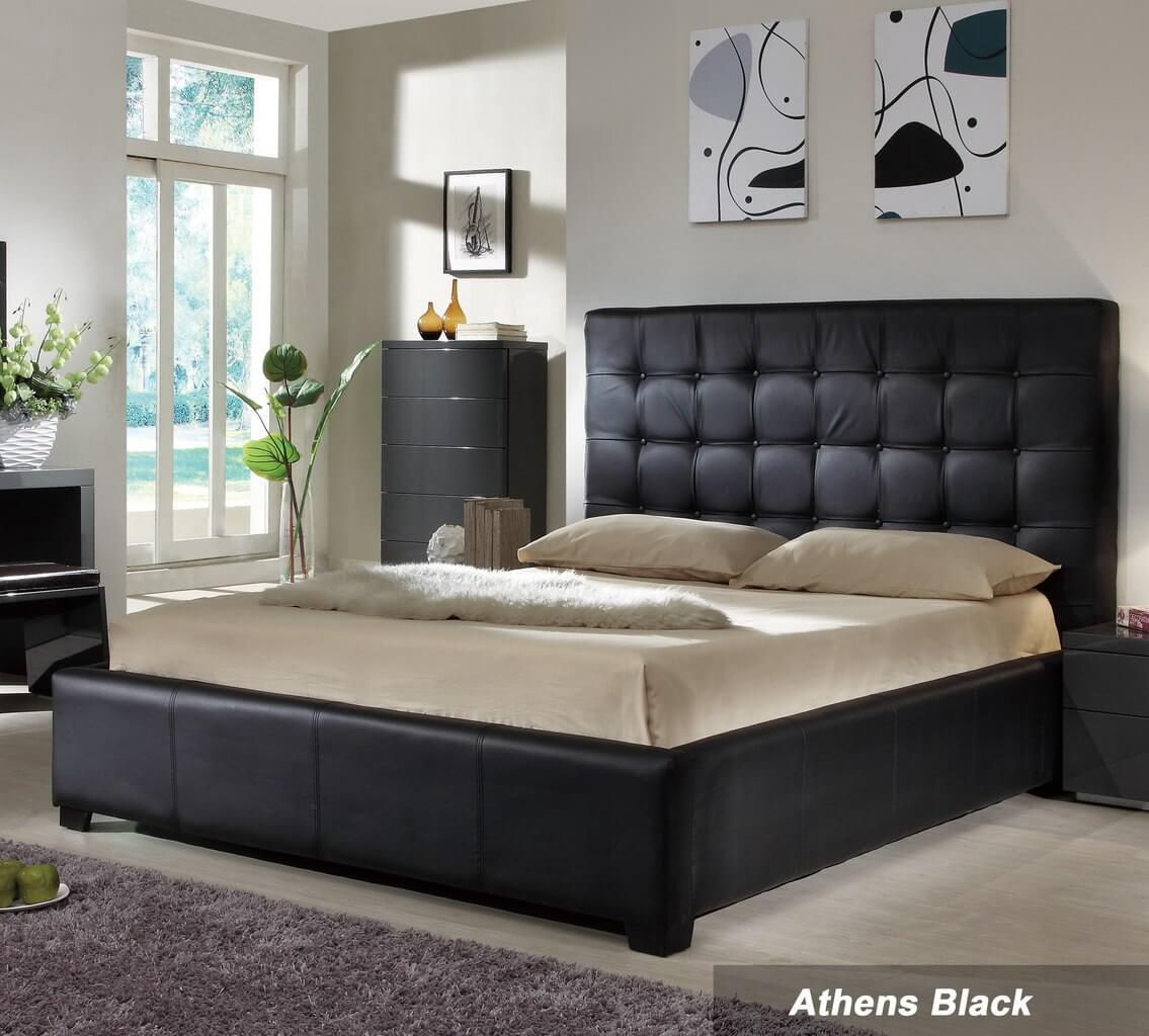 athens king size bed black by at home usa. Black Bedroom Furniture Sets. Home Design Ideas