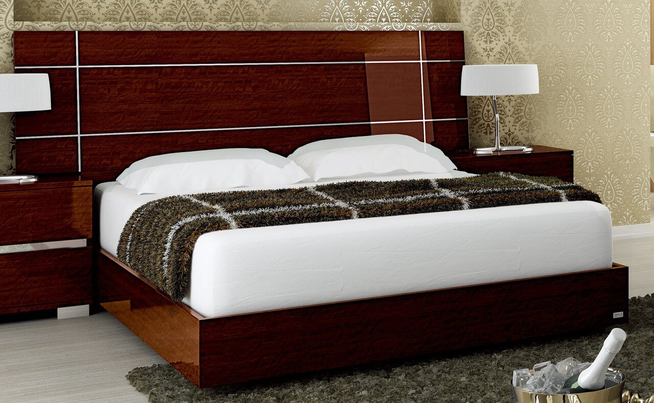 dream queen size bed walnut by at home usa. Black Bedroom Furniture Sets. Home Design Ideas