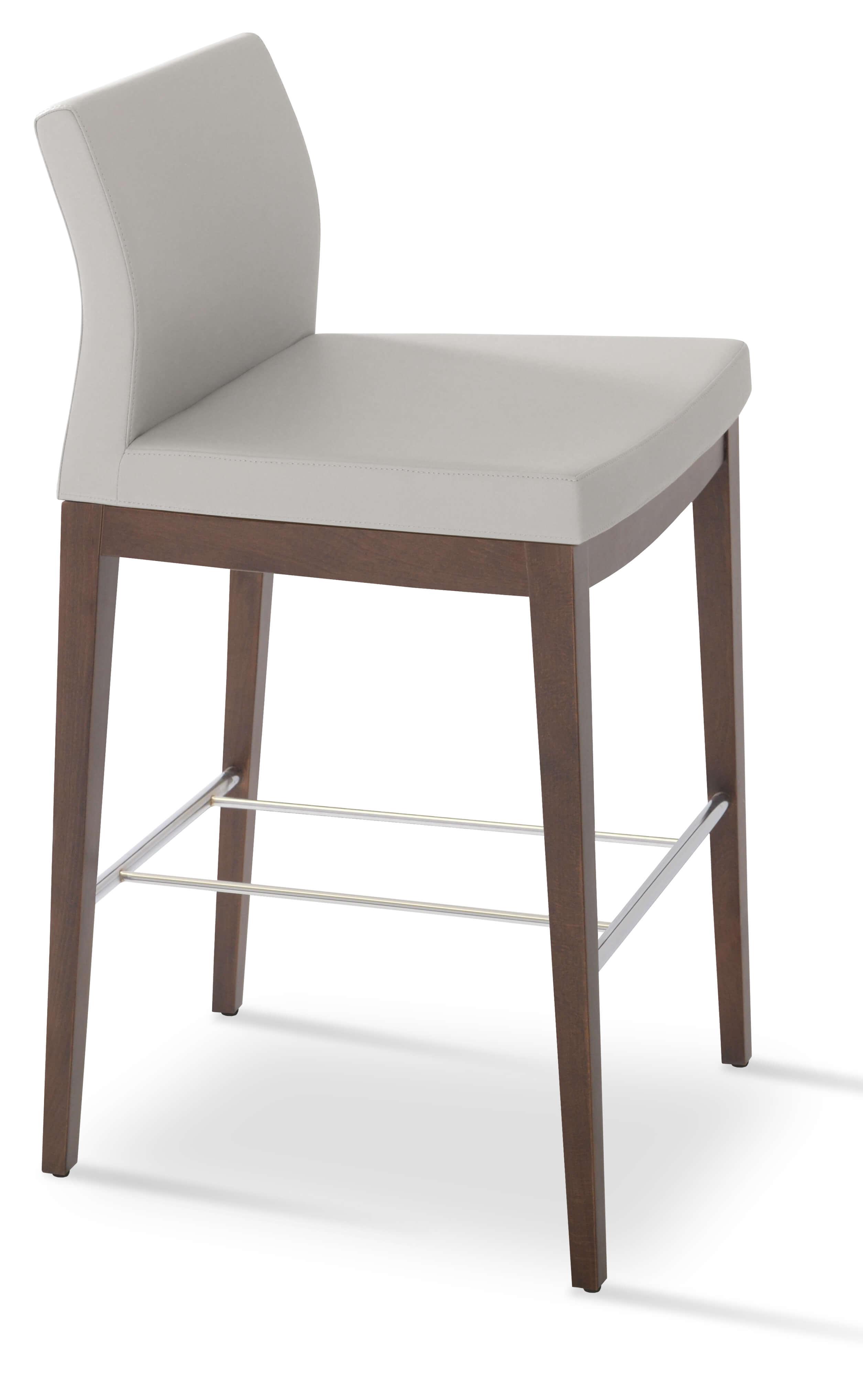 pasha wood bar stool solid beech walnut color white leatherette low back set of 4 by. Black Bedroom Furniture Sets. Home Design Ideas