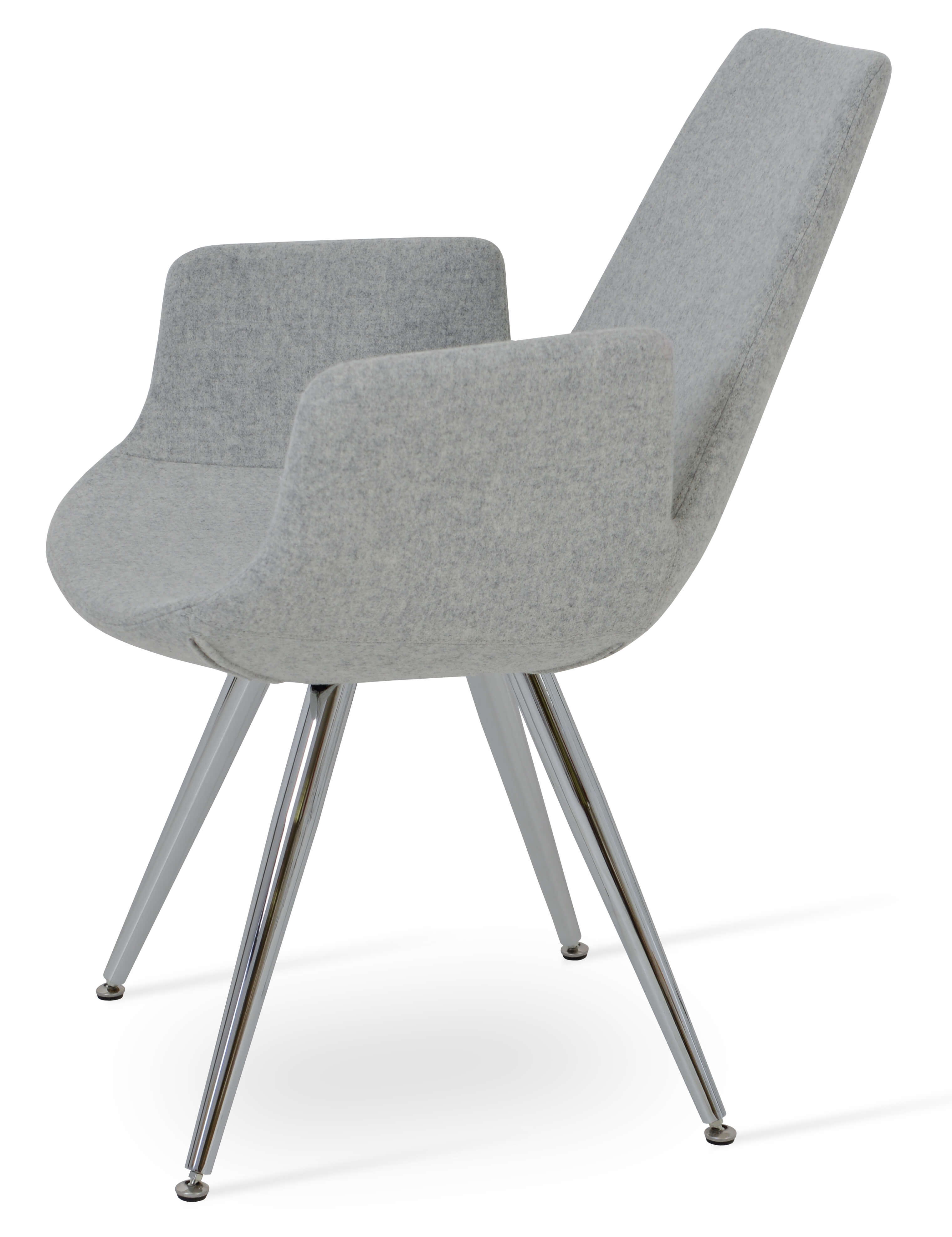 Eiffel Arm Star Chair Stainless Steel Turquoise Camira Wool Adjule Foot Caps By Sohoconcept Furniture