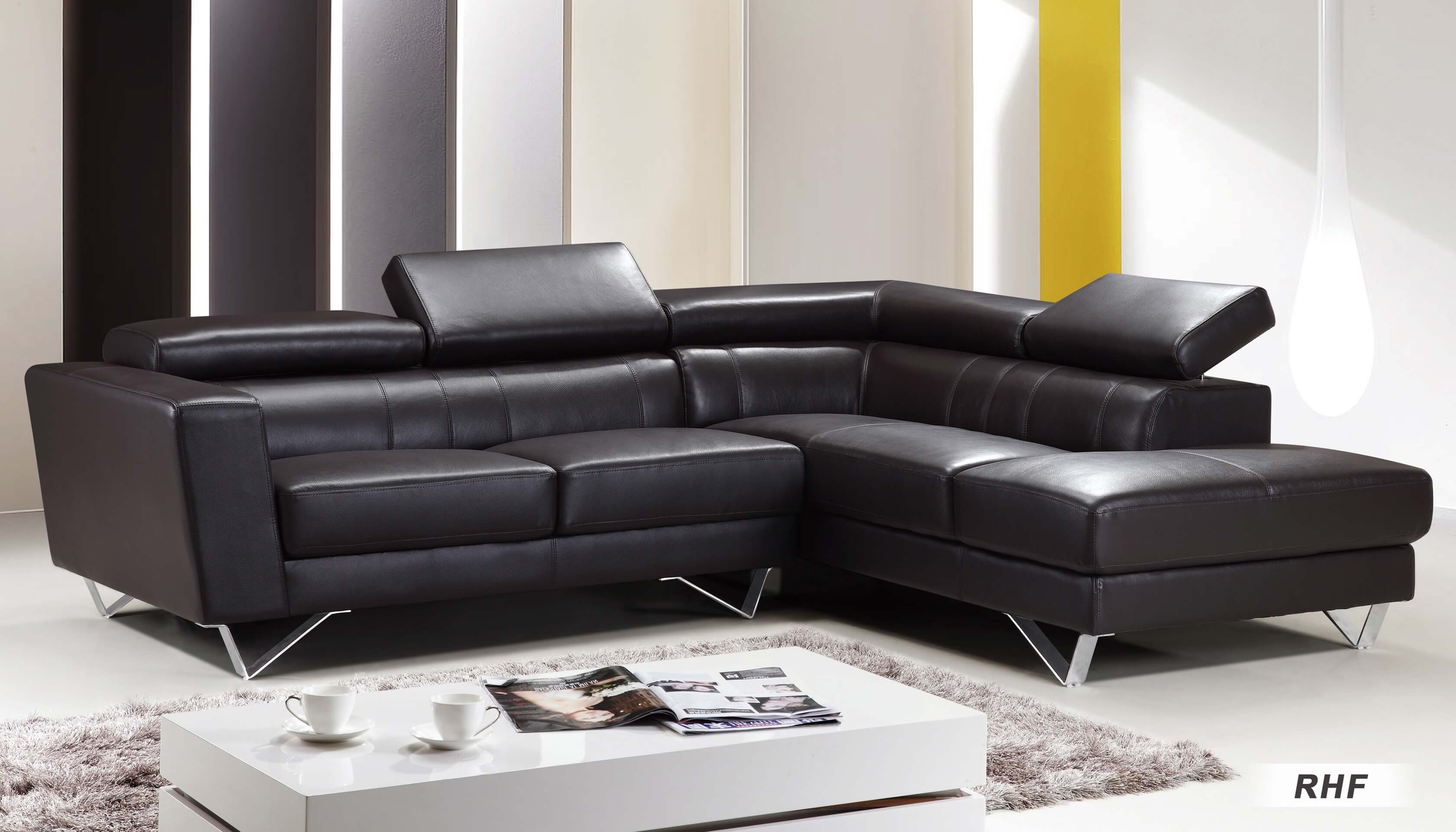 Sf6201 Sectional Sofa Right Arm Chaise Facing Brown By